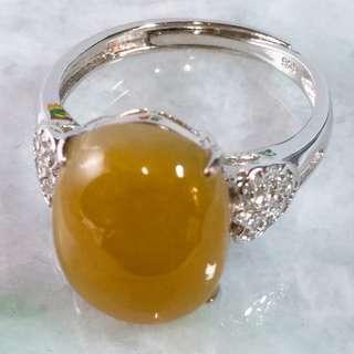 🚚 🎆黃翡戒🎆天然緬甸玉 A貨翡翠-黃翡 大蛋面 鑲925銀 戒指