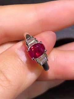 GIA認證!PT900鉑金鑲紅寶石鑽石戒指