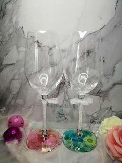 押花 玻璃 酒杯 紅酒杯 香檳杯