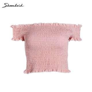 Pink Off-Shoulder Smocked Top