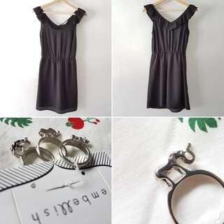 FREE POS Little Black Dress with Ruffle Sleeves + Giraffe Elephant Rhino Animal Rings in Silver (triple-pack)