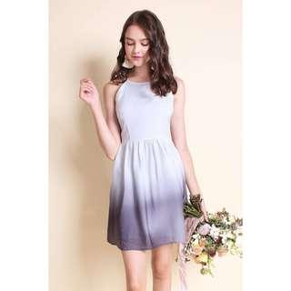 AURORA OMBRE A-LINE DRESS IN GREYSCALE