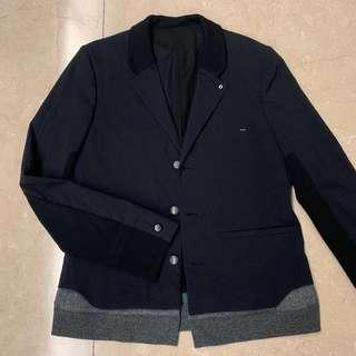 Undercover Black Jacket with Knitted and Leather Trim