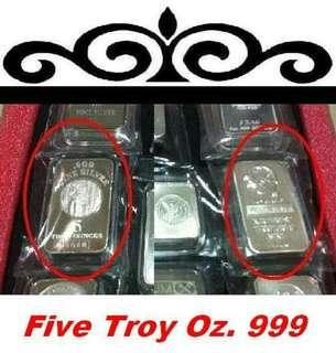 👉 USA. - 1x 5 Troy Oz. 999 Fine Silver Classic bar