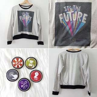 FREE POS It's The Future Statement Long Sleeve Tee in Grey + Breakout Escape Room Badge Pin Set of 5