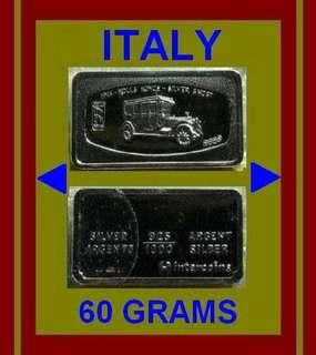 👉 ITALY - 1x 60g Grams (1.78 Oz. T 999) Fine Silver ingot art bar