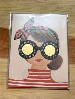 (包郵)金眼鏡生日卡