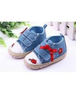 Blue Jean With Red Ribbon Baby Shoes