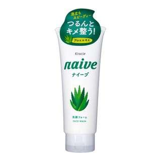 🚚 KRACIE Naive Facial Cleansing Face Wash Foam Aloe 130g – Made in Japan