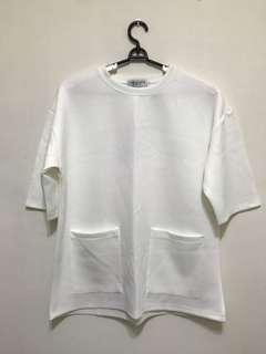 🚚 TheCorner:: 白色 素面 落肩 雙口袋 短袖T恤 上衣 Oversize 寬版 太空棉