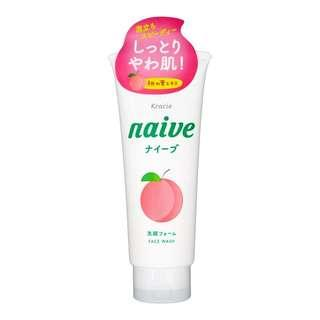 🚚 KRACIE Naive Makeup Removal Face Wash Cleansing Foam Peach 130g – Made in Japan