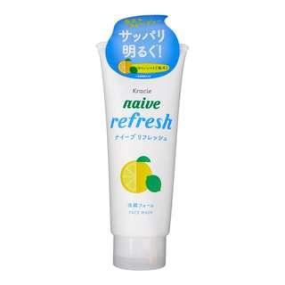 🚚 KRACIE Naive Facial Cleansing Face Wash Foam Citrus Refresh 130g – Made in Japan