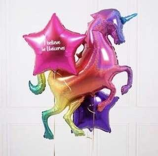 🚚 Large Laser Unicorn Foil Balloons (with helium)