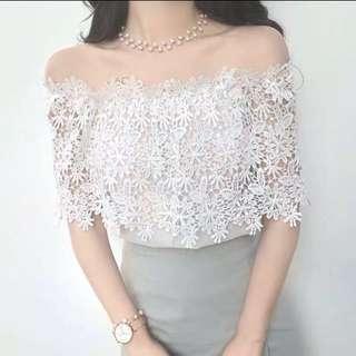 女神風白色Lace露膊上衣