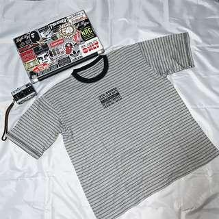 🚚 Grey Striped Tee