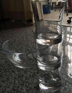 Glass bowl and cups