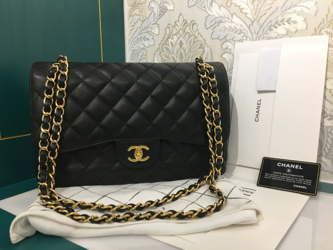 9c96869758e9 ❌Reserved❌#22 Chanel Jumbo Classic Double Flap Black Caviar with ...