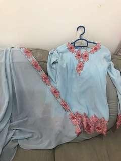 Baju kurung tunang with matching shawl