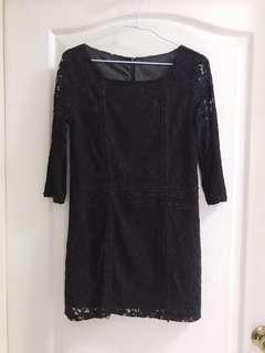 🚚 ZARA黑色蕾絲洋裝長袖七分
