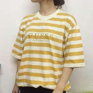 Vintage Guess Stripe Tee Yellow T-shirt Top 短袖 復古 間條 古著