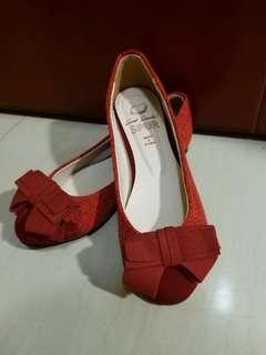 SPUR(韓國手製)蝴蝶結平底鞋-紅色