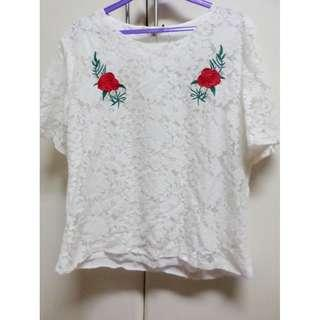 Floral Rose Embroidered White Lace Top