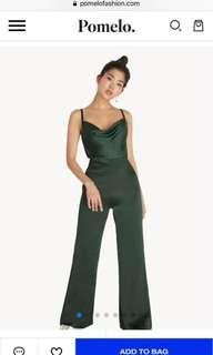 🚚 (BNWT) Pomelo Cami Satin Jumpsuit - Forest Green