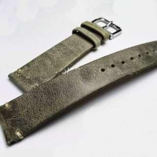 Olive Green Leather Strap 18mm BNIB