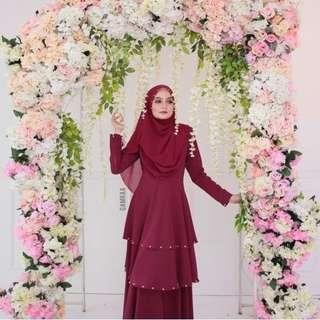 Qamraa Aisyah Blossom in Maroon