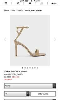 BN Charles & Keith Nude Ankle Strap Heels