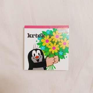 🚚 日本 名古屋 帶回 捷克 Krtek 小鼴鼠妙妙奇遇記 便條紙 Krtecek 小鼴鼠 吉祥物 插畫 收藏 #半價良品市集