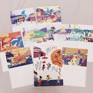 🚚 日本帶回 京都 嵐山 插畫 明信片組 (8張含盒子)#半價良品市集