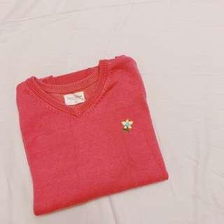 🚚 Lativ 粉紅色 厚針織 長袖上衣 刺繡 電繡 童裝 女童 男童 140cm 9Y #半價良品市集