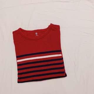 🚚 Uniqlo 酒紅 條紋 長袖 上衣 150cm 男童 女童 大童 童裝 #半價良品市集