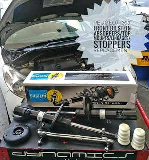 Peugeot 207:- Bilstein Front Absorbers/Linkages/Top Mounts/Stoppers