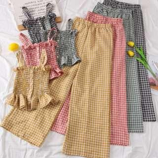 🚚 Classic Zoelle 2 Piece Checked Pants Set