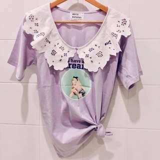 🚚 韓國東大門Blue banana新款蕾絲拼接愛麗絲上衣