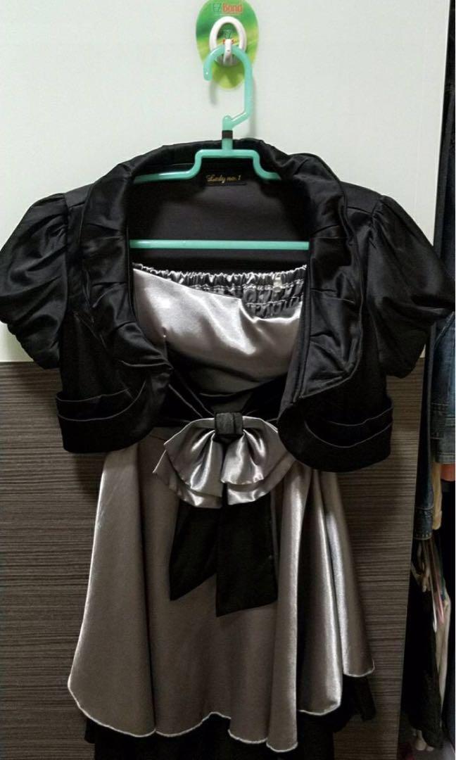 銀灰色洋裝露肩洋裝加小外套參加婚宴喜慶