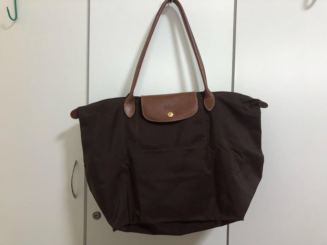 1f2623416 Authentic Longchamp Brown Large Foldable Tote Bag, Women's Fashion ...
