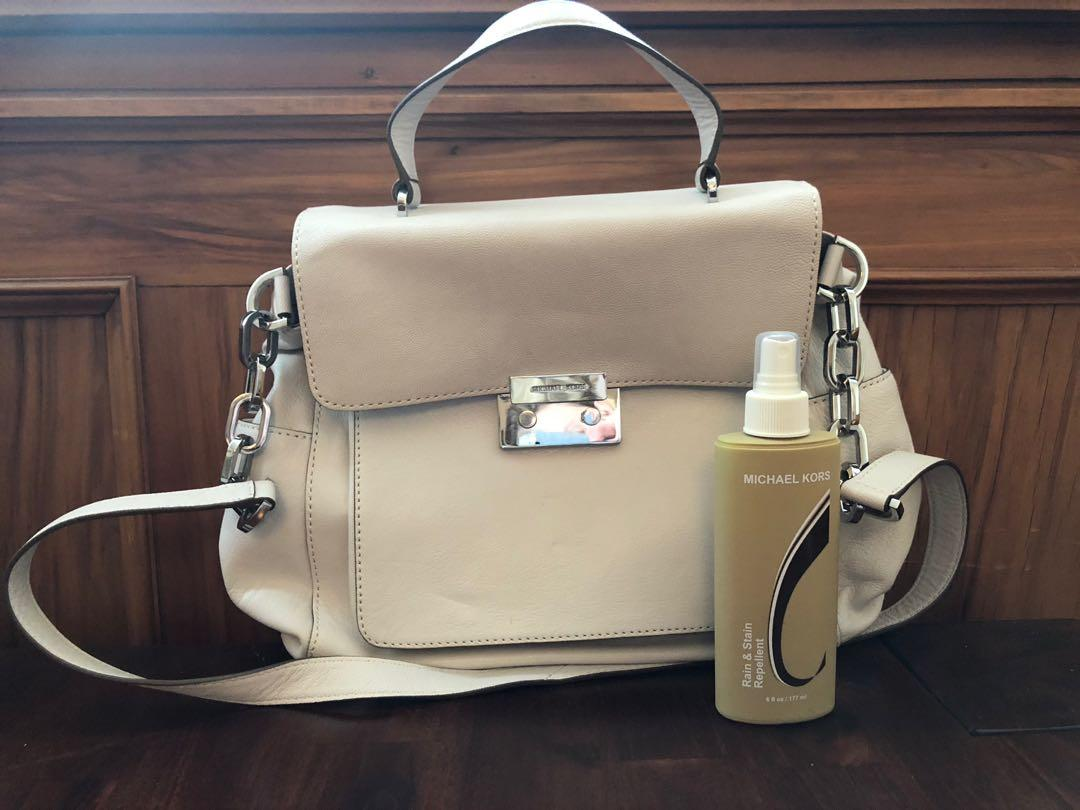 AUTHENTIC MICHAEL KORS white leather satchel