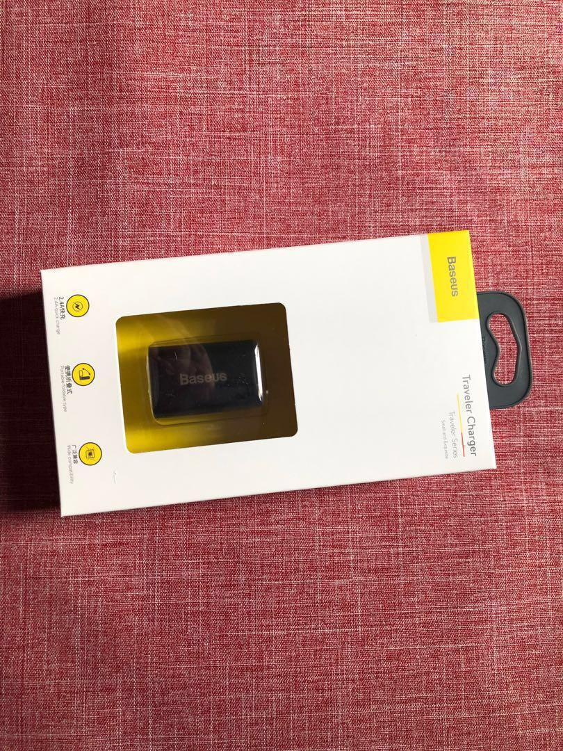 Baseus 倍思 Android iPhone 充電頭 2.4A x2 快充通用雙口usb (中国用雙腳插頭)