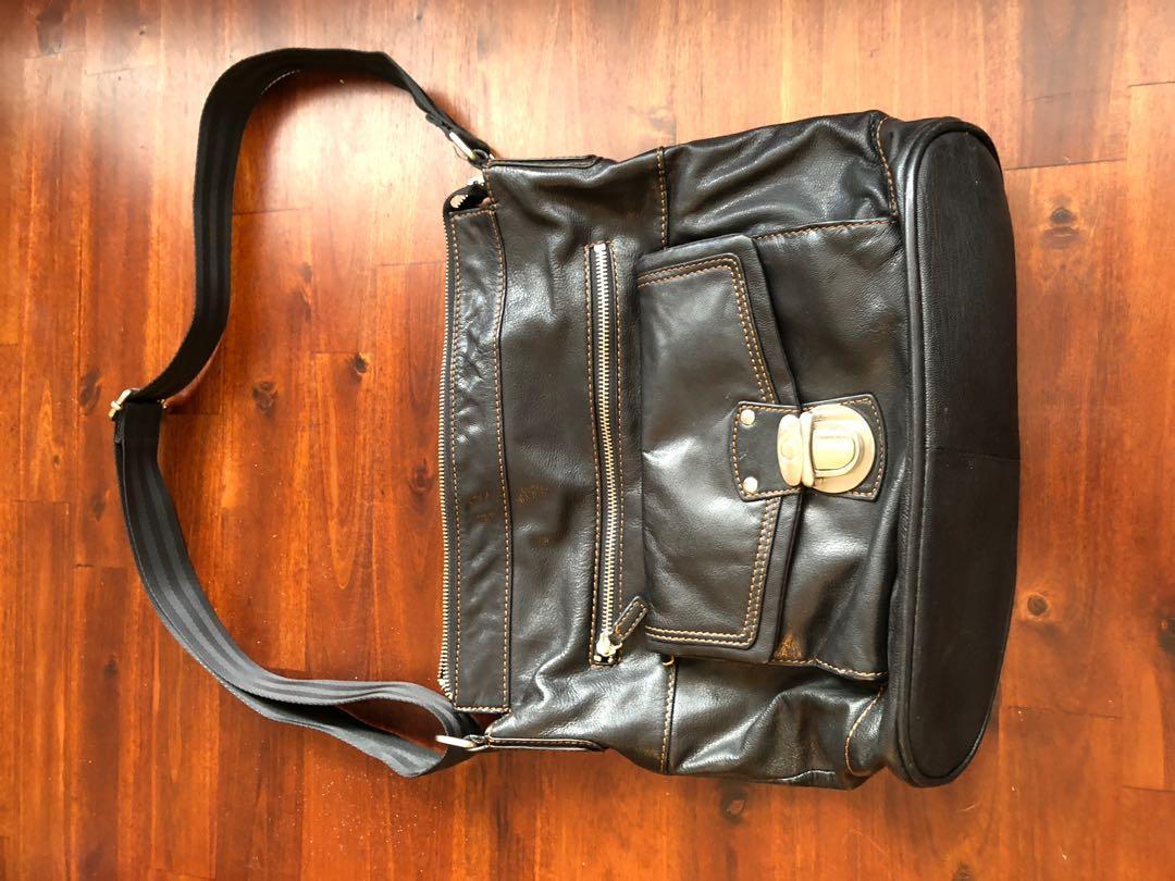 Black leather Danier large crossbody