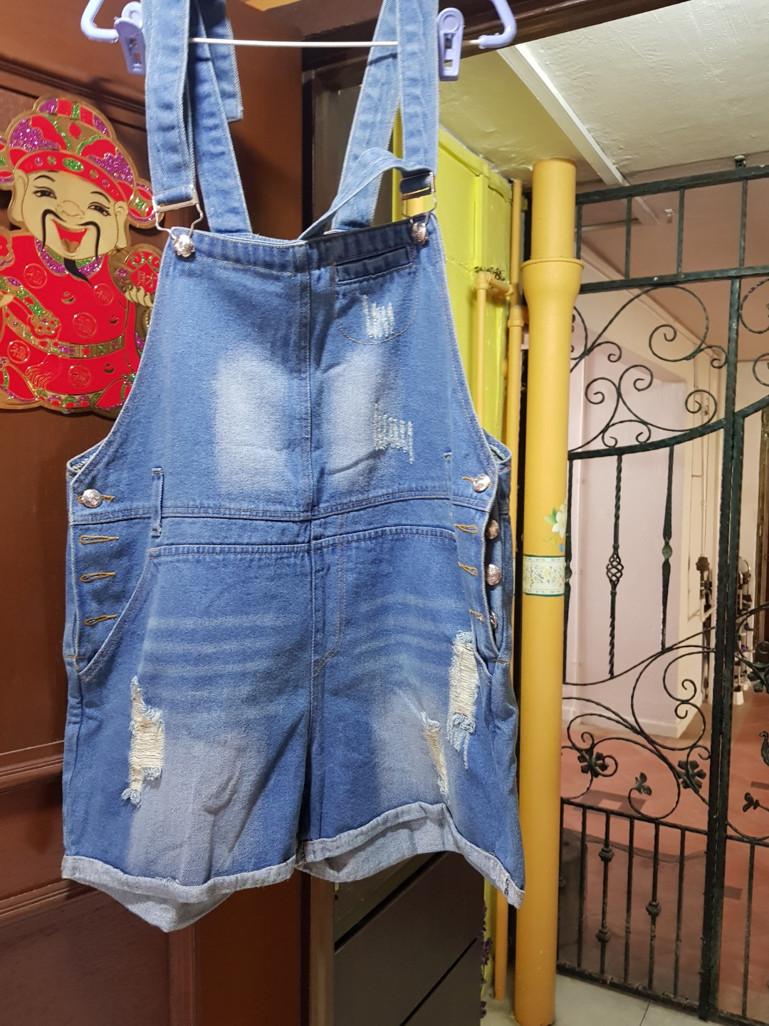 a76ce23eb98f9 BN Size 40 Ripped Denim Pinafore Short, Women's Fashion, Clothes, Pants,  Jeans & Shorts on Carousell