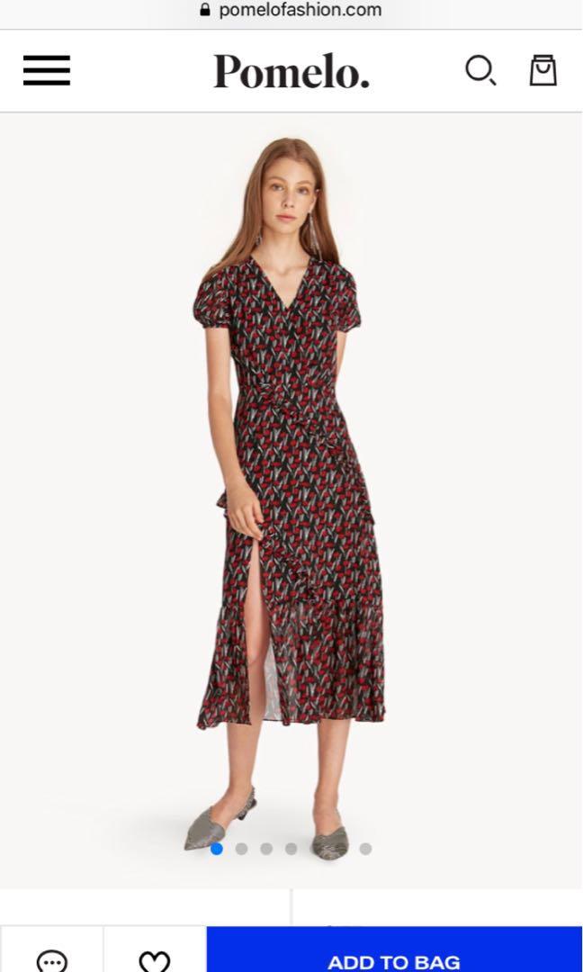 1e0c3e9d85 BNWT)Pomelo Midi Front Slit Ruffled Floral Dress - Red, Women's ...
