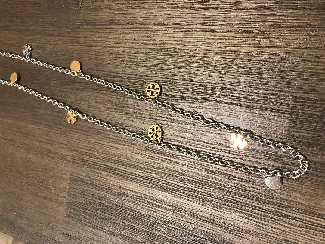 Brand new never used Tory Burch Logo Charm Rosary Necklace