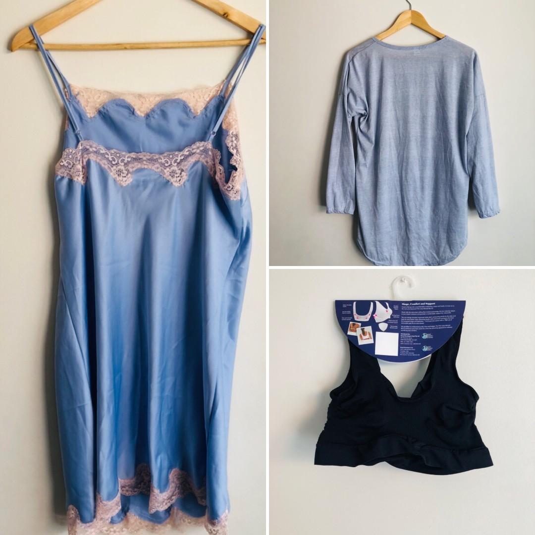 BUNDLE sleepwear 2x nightie, miracle bra size 14-16