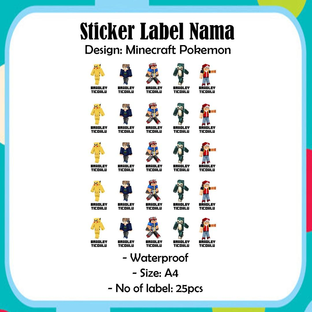 Custom Name Label Sticker Waterpoof A4 size - Minecraft