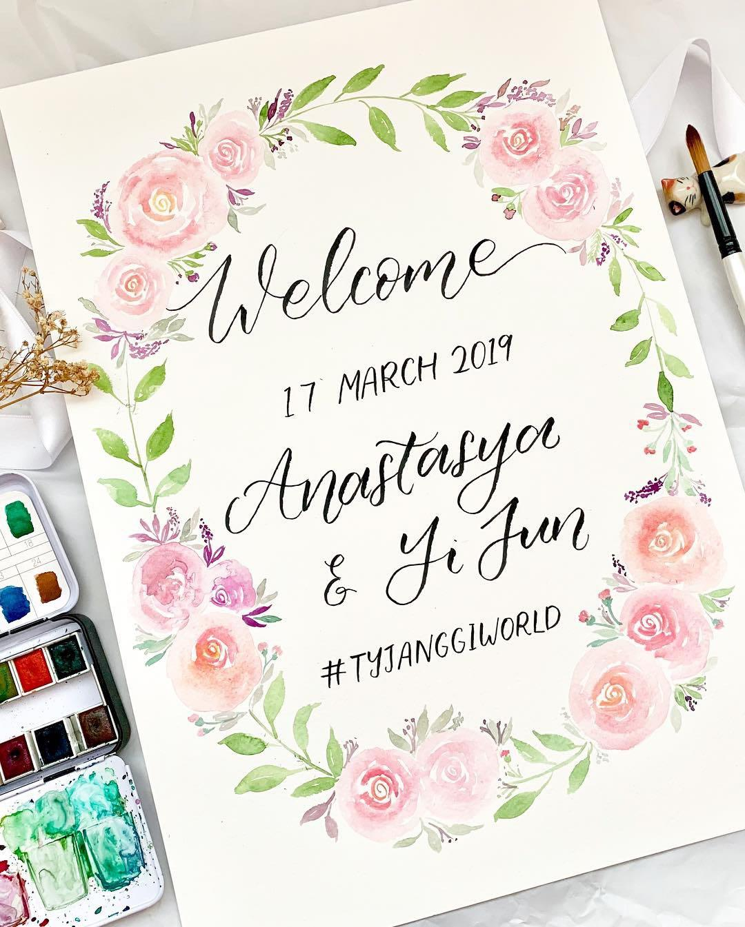 Floral wedding calligraphy poster