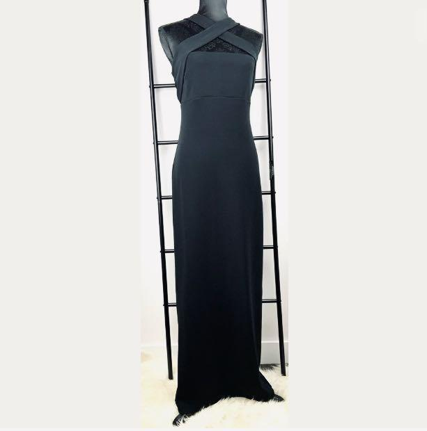 Hugo Buscati Collection sz 12 black strap maxi dress formal wedding made in USA
