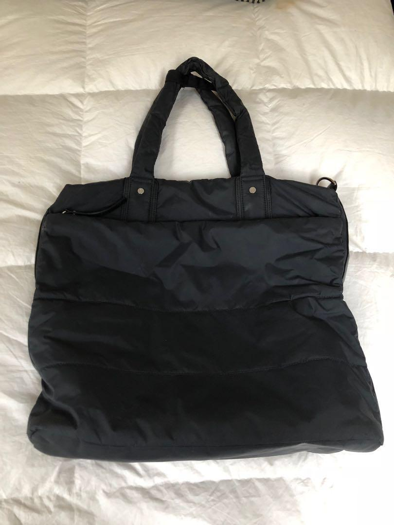 Lululemon medium / large size tote bag. Black nylon with vegan leather